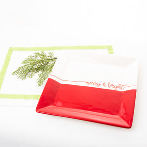 Holiday Dipped Square Platter
