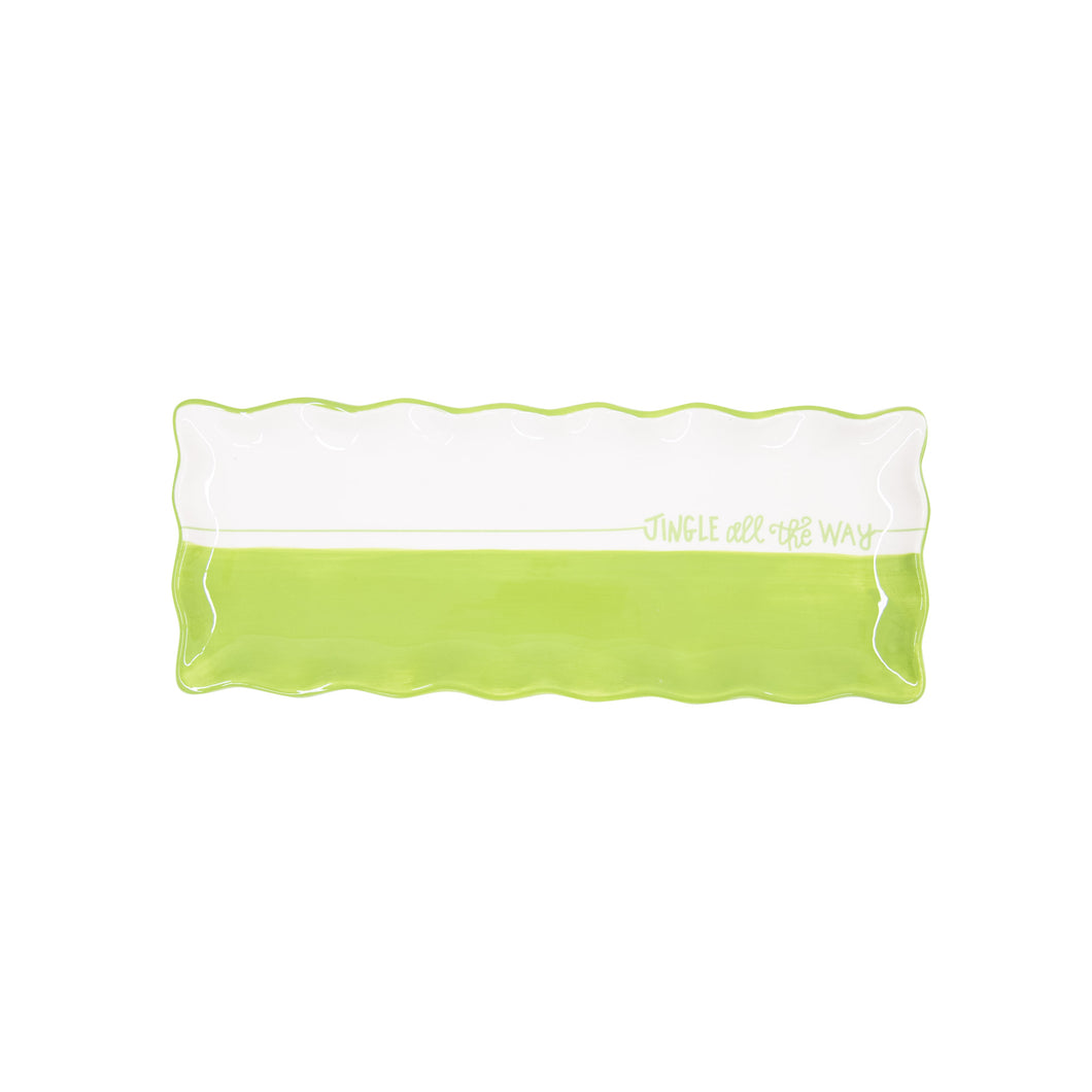 Holiday Green Dipped Rectangle Platter