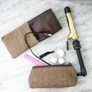 Lifestyle of our Herringbone Flat Iron Case and Grab-n-Go pouch