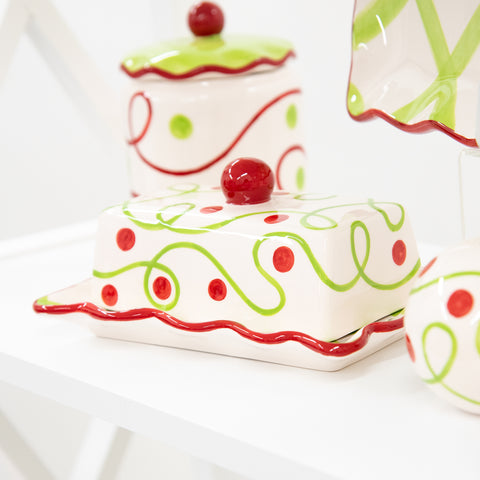 Holiday Swirl Dot Butter Dish