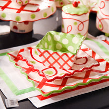 Load image into Gallery viewer, Holiday Swirl Dot Dessert Plates