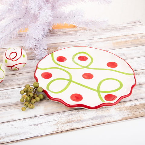Holiday Swirl Dot Round Platter
