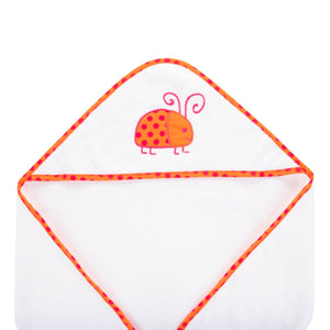 Top view of our Orange Ladybug Hooded Towel