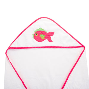 Top view of our Pink Fish Hooded Towel