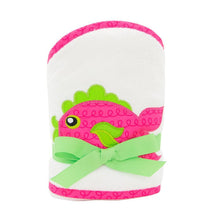 Front view of our Pink Fish Girl Hooded Towel