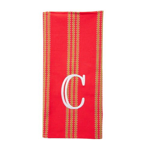 Monogrammed view of our Holiday Vertical Stripe Dish Towel