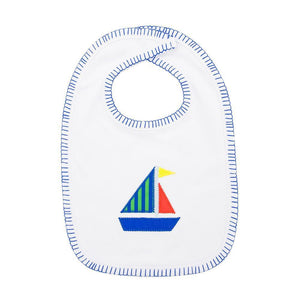 Front view of our Green Sailboat Boy Icon Bib