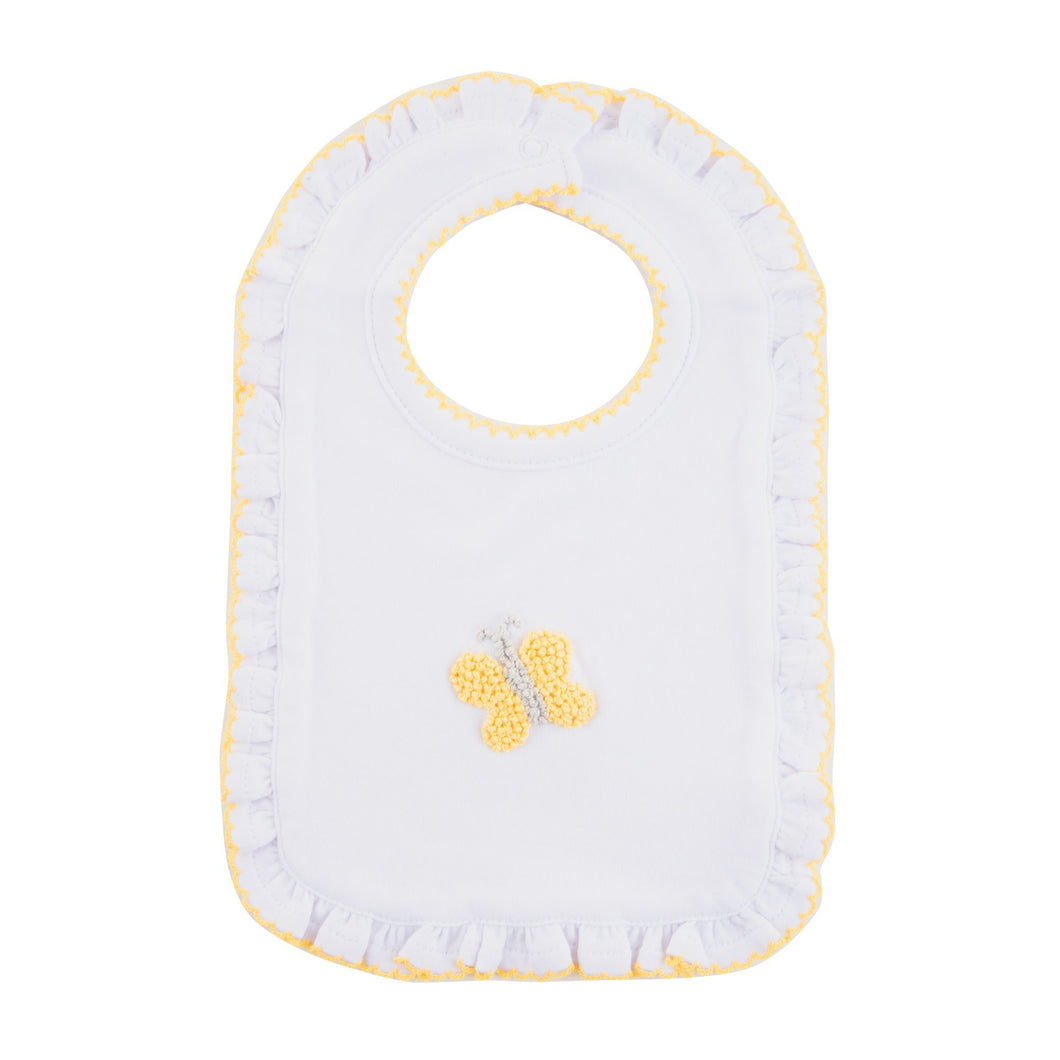 Front view of our Yellow Butterfly French Knot Bib