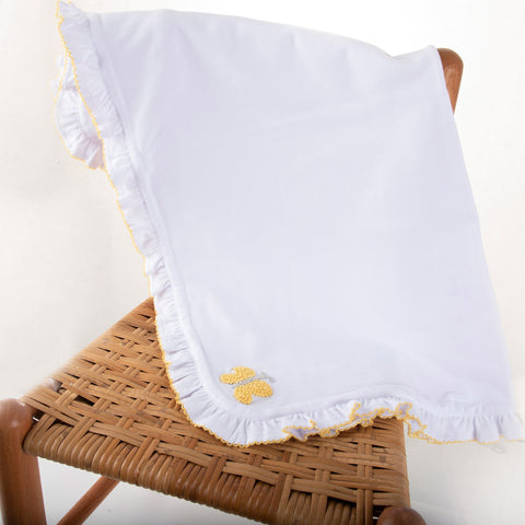 Lifestyle view of our Yellow Butterfly French Knot Blanket
