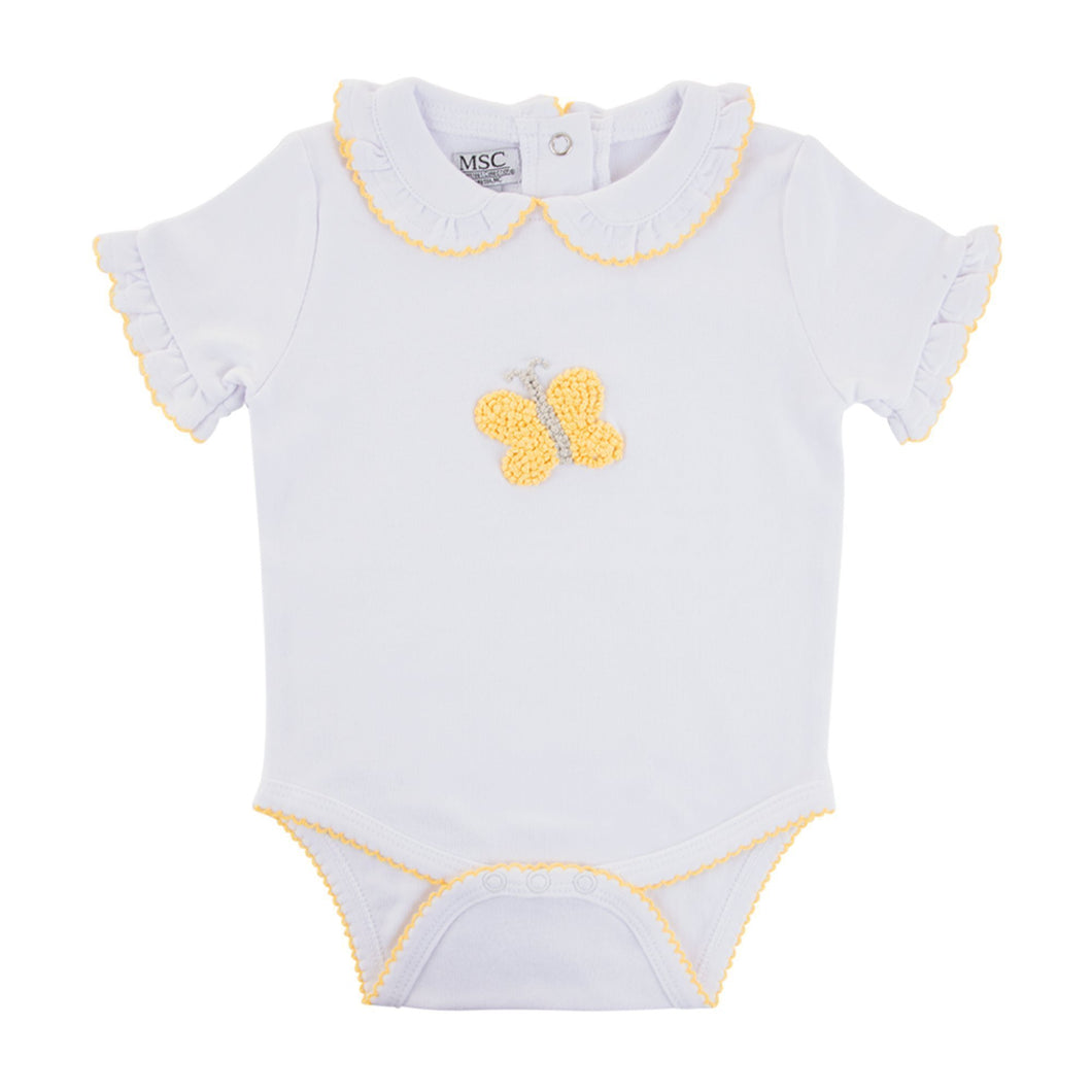 Front view of our Yellow Butterfly French Knot Onesie