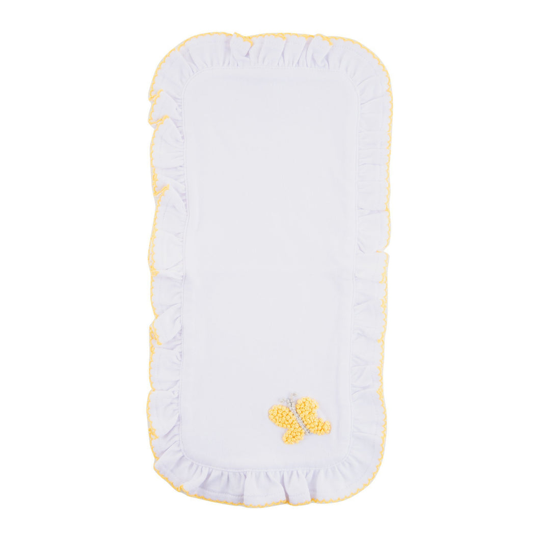 Open view of our Yellow Butterfly French Knot Burp Cloth