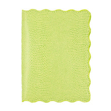 Load image into Gallery viewer, Front view of our Green Lizard Scallop Passport Holder
