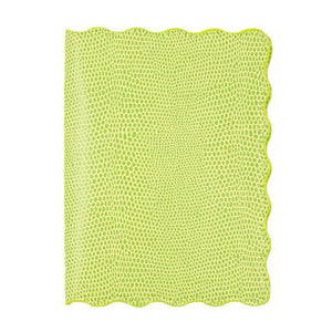 Front view of our Green Lizard Scallop Passport Holder