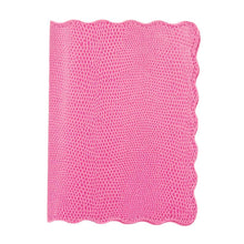 Load image into Gallery viewer, Front view of our Pink Lizard Scallop Passport Holder
