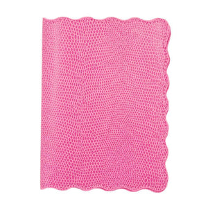 Front view of our Pink Lizard Scallop Passport Holder