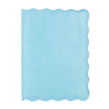 Load image into Gallery viewer, Front view of our Turquoise Lizard Scallop Passport Holder