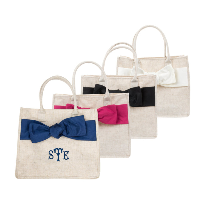 Monogrammed image of our Linen Bow Handbags