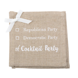 "Linen Cocktail Napkins ""Cocktail Party"""