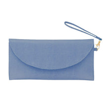 Load image into Gallery viewer, Front view of our Navy Lizard Foldover Clutch