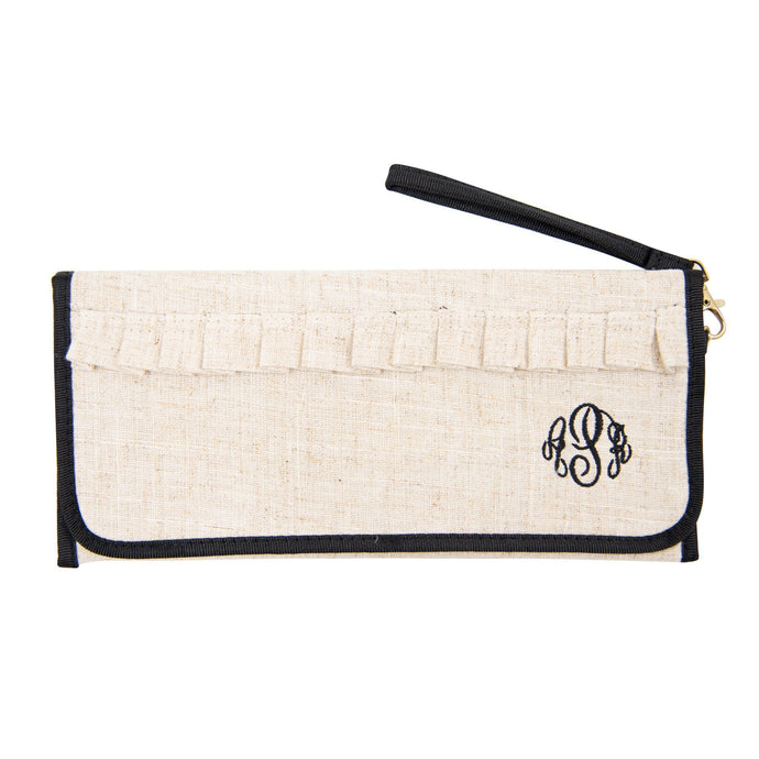 Monogrammed view of our Linen Trifold Clutch