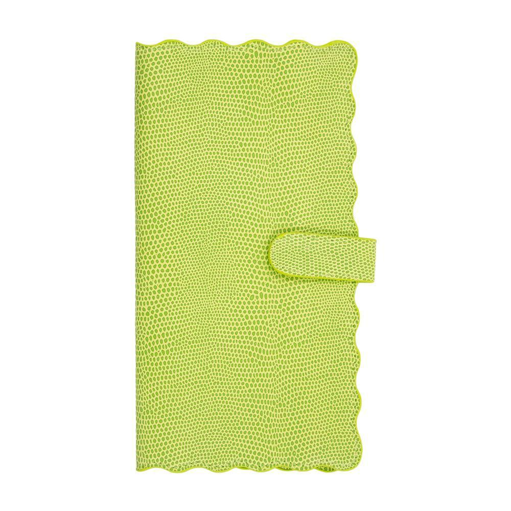 Front view of our Green Lizard Scallop Travel Wallet
