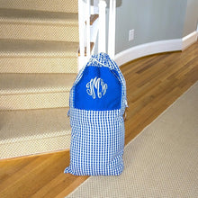 Load image into Gallery viewer, Stuffed Monogrammed Blue Gingham Laundry Bag