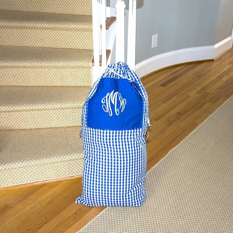 Stuffed Monogrammed Blue Gingham Laundry Bag