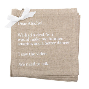 """Dear Alcohol"" Linen Cocktail Napkins"
