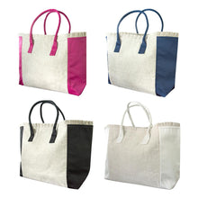 Load image into Gallery viewer, Linen Weekender Tote Models