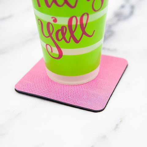 Lifestyle view of our Pink Lizard Coasters