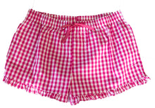 Load image into Gallery viewer, Gingham Ruffle Lounge Shorts