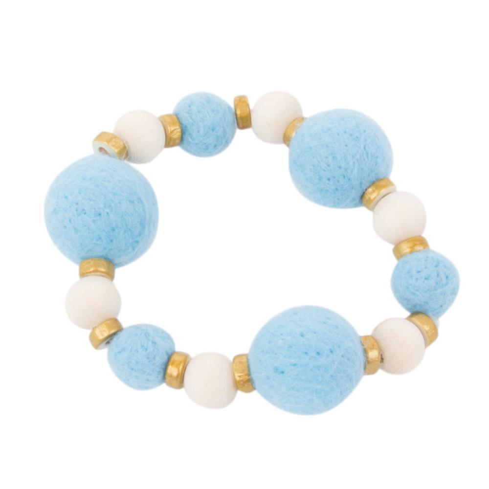 Front view of our Light Blue Felt Bead Bracelet