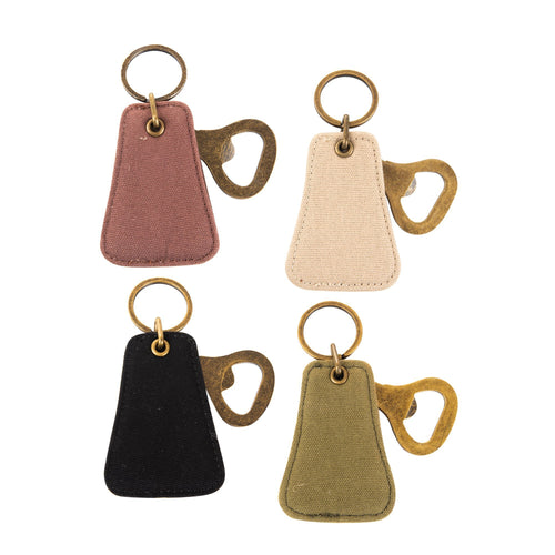 Front view of our Canvas Bottle opener Keychains