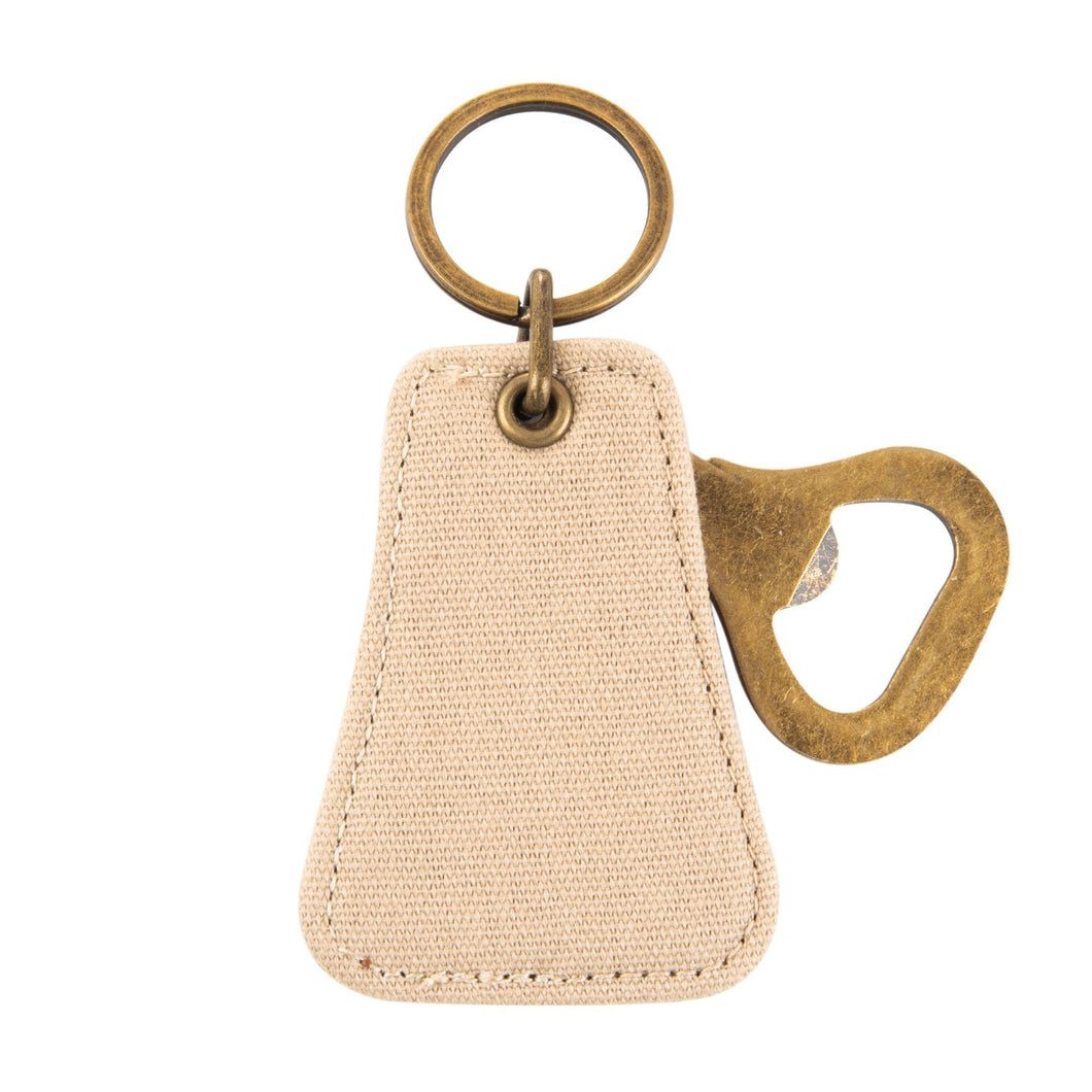 Front view of our Tan Canvas Bottle opener Keychain