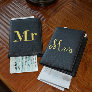 Lifestyle view of our Mr & Mrs Passport Holder Set