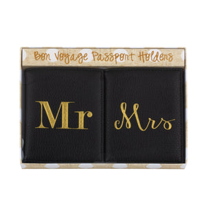 Front view of our Mr & Mrs Passport Holder Set