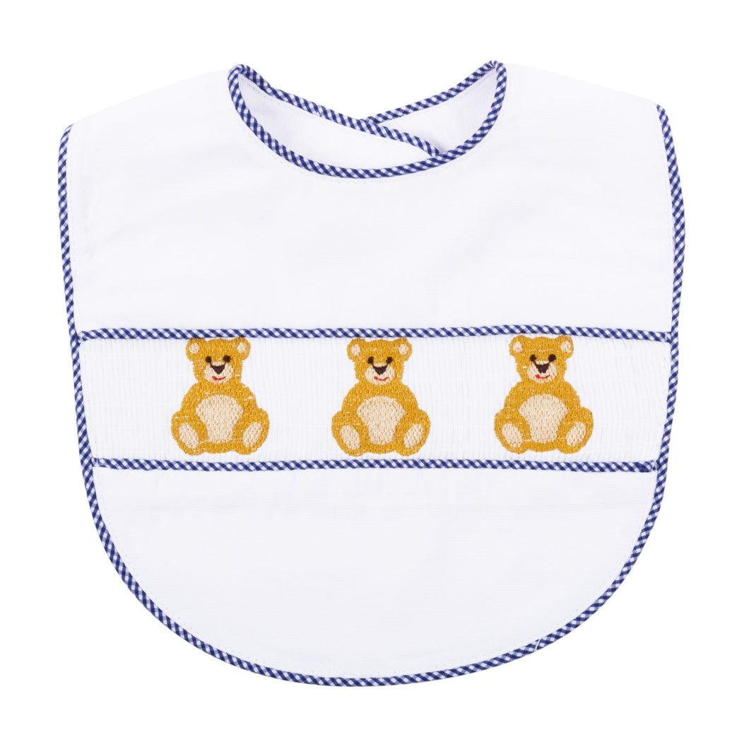 Front view of our Navy Bear Smocked Bib