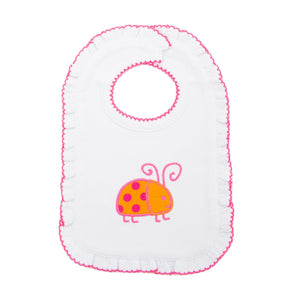 Front view of our Girl Orange Ladybug Icon Bibs