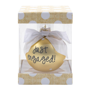 Just engaged ornament packaged in a clear box
