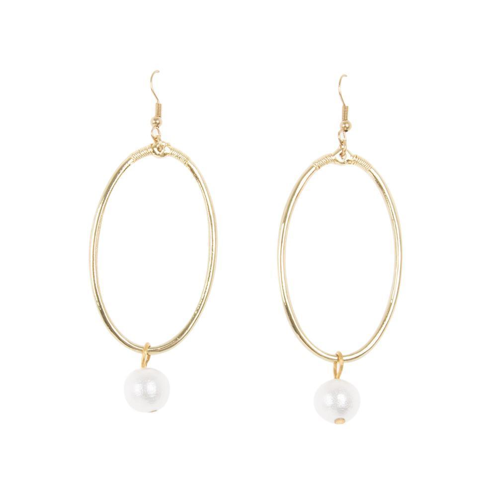 Dangle Oval Textured Pearl Earring
