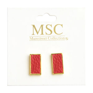 Top view of our Crimson Pebble Grain Rectangle Earrings