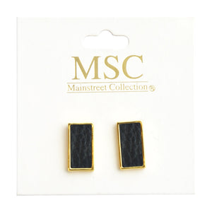 Top view of our Black Pebble Grain Rectangle Earrings