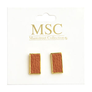 Top view of our Camel Pebble Grain Rectangle Earrings