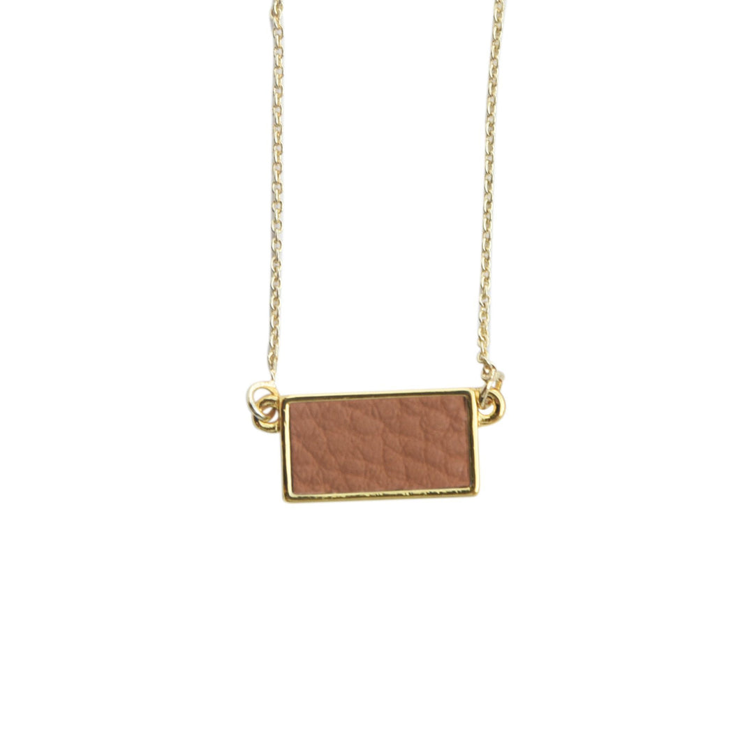 Top view of our Camel Pebble Grain Rectangle Necklace