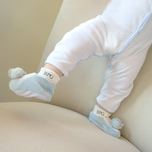 Lifestyle image of our Blue Bear Plush Slipper Set