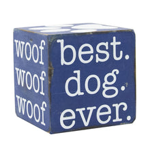 Load image into Gallery viewer, Front view of our Navy Pet Wooden Cube