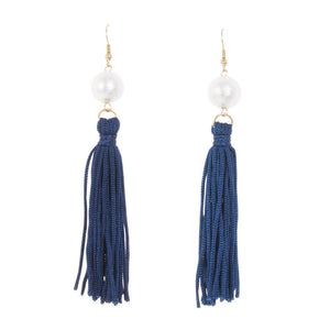 Front view of our Navy Pearl Tassel Earrings