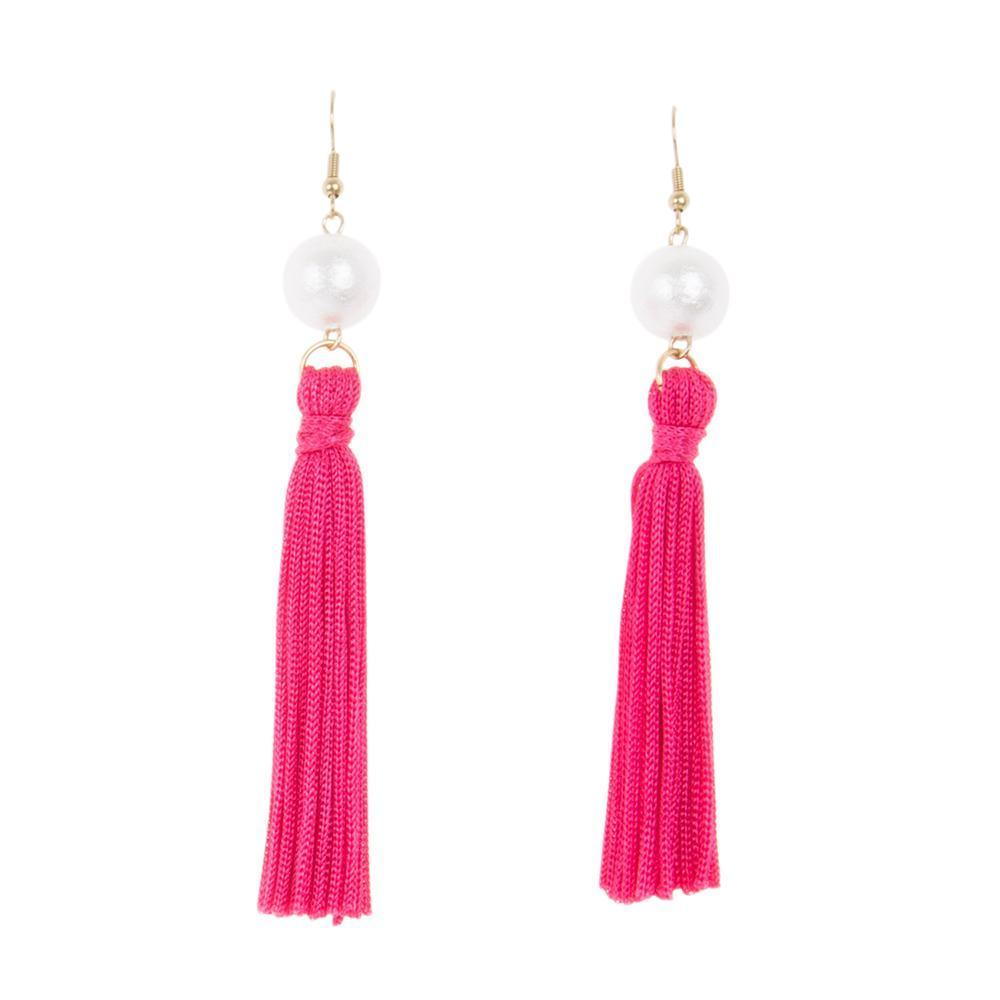 Front view of our Pink Pearl Tassel Earrings