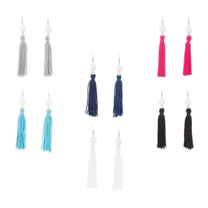 Front view of our Pearl Tassel Earrings