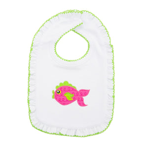 Front view of our Girl Pink Fish Icon Bibs